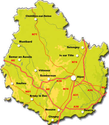 Carte de la Côte-d'Or