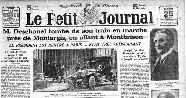 Paul Deschanel tombe du train – Une du Petit Journal
