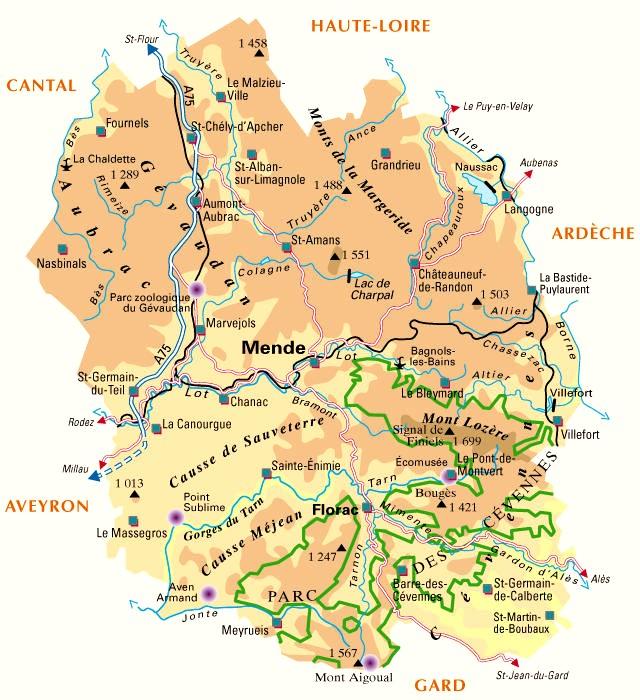 Carte de la Lozère